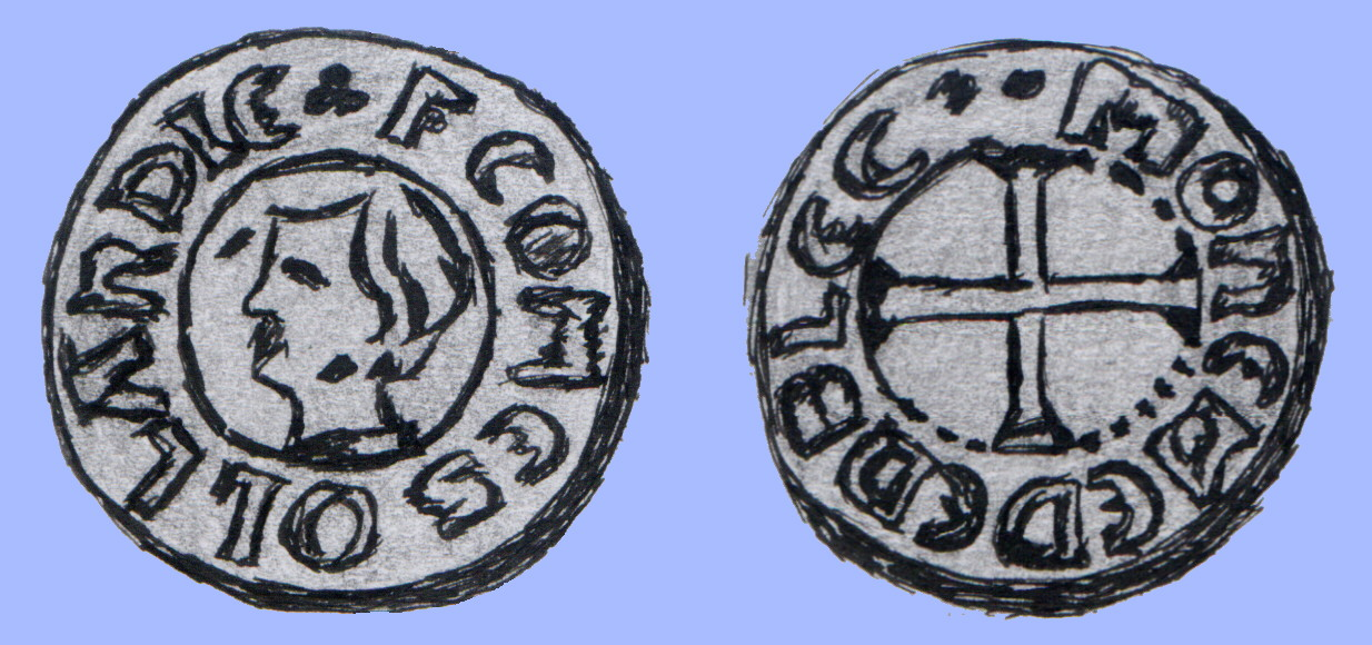 A 'denier' of Florens V, struck by the Mint of Medemblik.